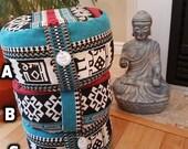 Meditation Cushion-Turquoise Turkish Kilim Chenille-Zafus