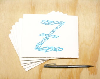 Letter Z Stationery - READY TO SHIP - Personalized Gift - Set of 6 Block Printed Cards
