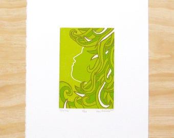 """Woodblock Print - """"Spring"""" - Woman Head Seasons - Art Printmaking"""