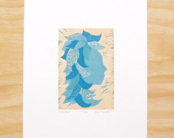 "Block Print ""Winter"" Woman Head Seasons Art Printmaking"