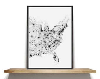 Eastern United States Map Poster, Black and White Eastern United States Map Wall Art, USA Map Print, Black and White Map Photography