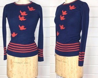 Vintage 1960s Navy & Rust Pullover Sweater / Embroidered Birds / Made by Tammi / Mod