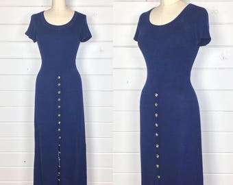 Vintage 1980s St. John Knits Midnight Blue Maxi Dress / Brass Buttons / Midnight Blue / Sweater Dress