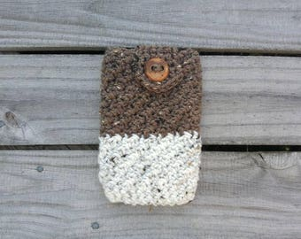 Crocheted Cell Phone Case - Phone Cover- Phone Sleeve- Brown Cream- Natural- Neutral - Phone Cozy - iPhone Cover- Android Case- Phone Coozie