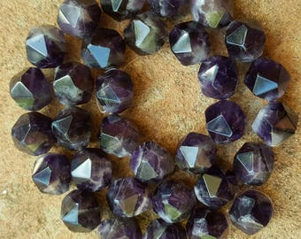 "Natural Amethyst 12mm Faceted Polygon Beads - 15.5"" Strand"