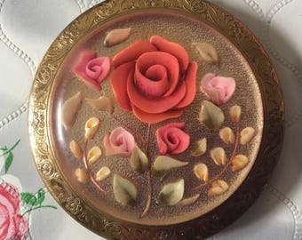Melissa compact Reverse carved lucite compact mirror vintage compact pink roses compact vintage powder compact 1950s compact floral