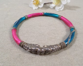 Beautiful Vintage Gold Tone Ornate Enamel Bangle Bracelet  DL#2582