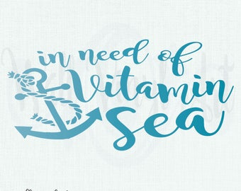 In Need of some Vitamin Sea Vinyl Decal- Wall Art, home decor, beach art, wall decor, ocean decor, beach decal, Vinyl lettering