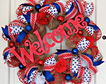 Patriotic Burlap Welcome Wreath, Patriotic Wreath, Burlap Wreath