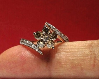 1.50 Carat Genuine Chocolate & White Diamond Ring in 14K Rose Gold (HD video available)