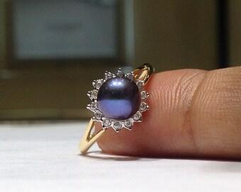 Genuine Black Pearl & Diamond Halo Style Ring in 14k Gold