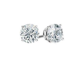 0.85 Carats Ideal Cut Round Brilliant Diamond Studs in 14K White Gold