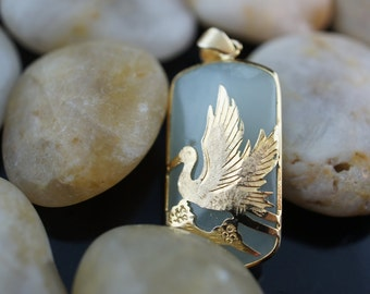 Solid Gold  pendant 14K 1  3/8''long and 5/8'' wide bird on the top Large Aqua Blue Chalcedony gift  charm for chain necklace bracelet A.
