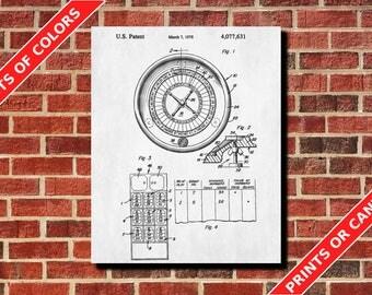 Roulette Wheel Patent Print Gambling Poster Casino Poster Roulette Table Blueprint