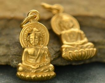 Sterling Silver Gold Plated Small Buddha Charm