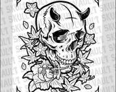 Tattoo Skull with Flowers...