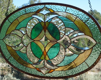 """stained glass window panel """"BEVELS, BEVELS, BEVELS"""" hand blown glass, hand poured & rolled glass, custom beveling, suncatcher"""