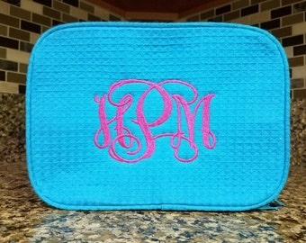 Personalized Travel Sized AQUA Waffle Cosmetic Bag w/ Embroidery, Bridesmaid Gift, Mother's Day Gift, Wedding Gift, Valentine's Day Gift