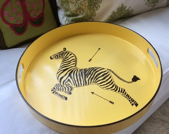 "Hand Painted Scalamandre Zebra tray 15"" round tray Yellow and Brown"