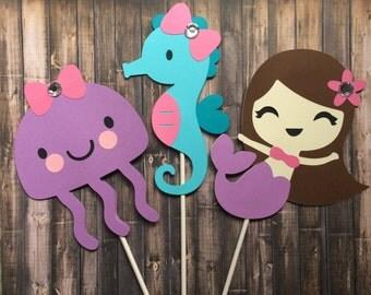 Under the Sea centerpiece, Beach Party, Baby Shower decoration, Mermaid Birthday Decoration, Mermaid Jelly Fish Seahorse