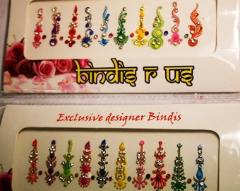 2PACK BINDI Set. Face Gems Jewels.  10 Curved 10 Straight 18 Fake Nose Studs. Gift for Her.