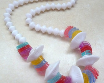Vintage White Plastic And Vibrant Disc Bead Necklace.
