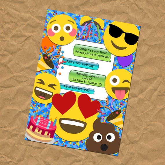 Emoji Faces Printable Birthday Party Invitations
