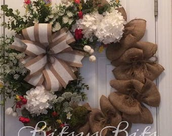 Burlap Summer Wreath red white accents