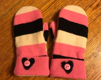 Sweater mittens/ Cashmere stripes! Soft and warm handmade wool sweater mittens