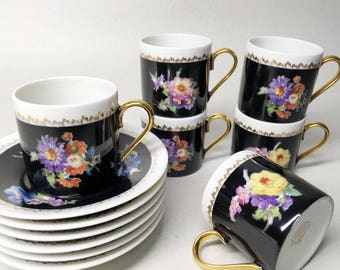 French Vintage Limoges Porcelain Coffee Service - Ancienne Fabrique Royale de Limoges France - Romantic Decor