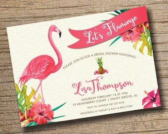 Flamingo Bridal Shower Invitation, Tropical Bridal Shower Flamingo Invitation, Flamingo Invite Personalized Printable Digital Tropical