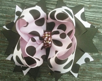Girls Boutique Hair Bow, Pink and Brown Toddler Girls Hairbow, OTT Hairbow, School Hair Bow