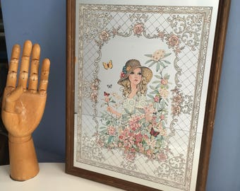 Painted Wall Mirror. Vogue Magazine. Hallway Mirror. Girl Bedroom. Home Decor. 1970s. Floral Theme. Girl in Sun Hat. Butterflies. 1970s.