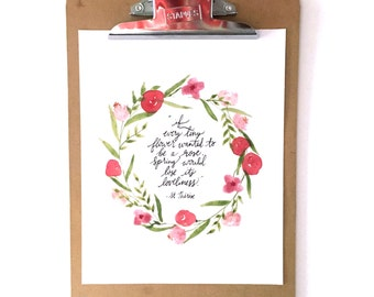 St. Therese quote 8x10 print, watercolor flower wreath