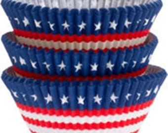 American Flag Cupcake Liners - Cupcake Papers - Traditional Size - Memorial Day - 4th of July - Labor Day - Patriotic - Veterans Day