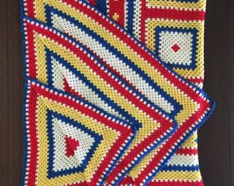 Op Art Throw Bright Primary Color Throw Vintage Afghan Large Vintage Afghan Bold Color Afghan Vintage Crochet Blanket Op Art Afghan