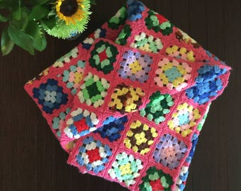 Bright Unicorn Colors Blanket Pink Rainbow Granny Square Afghan Pink Granny Square Blanket Vintage Afghan Toddler Bed Afghan Colorful Throw