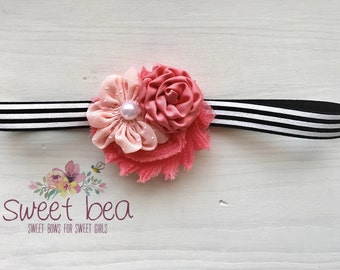 Coral Mini Satin Pearl on Black and White Band/ Baby Headbands/ Photo Props