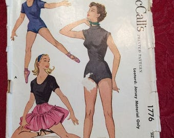 Vintage 1950s Leotard Sewing Pattern McCalls #1776 Girls Sz 10 Capezio Complete