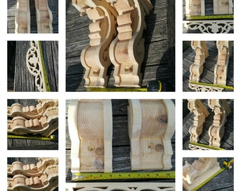 A pair of joinery grade redWood corbels