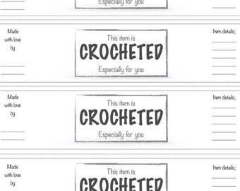 PRINTABLE wrap labels for your crochet items like beanies, dish cloth, boot cuffs.