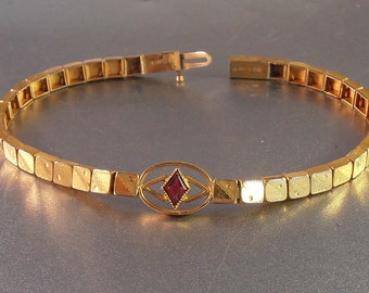 Victorian Book Chain Ruby Bracelet, Gold Filled Etched, Stacking, B MFG CO