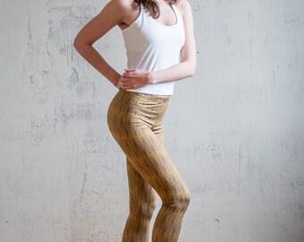 Geometric Womens Leggings/Yoga Leggings/Running Leggings/Bronze Yoga Pants/Active Wear/Geometric Triangle Pattern/Yoga wear/Freeberry