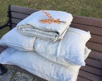 "Grey/ bluish Linen duvet, Queen size 92x96"", Pillow cases/ shams available, Vintage washed Belgian linen"