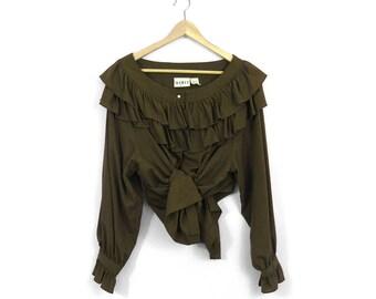 90s Olive Ruffle Neck Blouse / Dark Green Ruffle Button Up Shirt / Romantic / Poet / Clown
