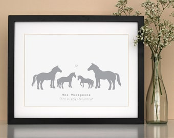 Horse family personalised poster print - personalised family art - gift for horse lover - horse poster print - new parents gift - horse gift