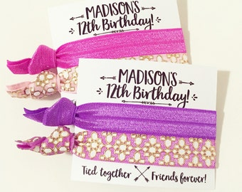 Bohemian Birthday Party Hair Tie Favors | Custom Birthday Hair Tie Favors, Pink + Purple Personalized Party Favors, Friends Forever, Arrows