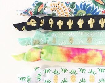 Tequila Sunrise Hair Tie Set | Cactus + Pineapple Creaseless Elastic Hair Ties, Boho Hair Tie Set, Tropical Pineapple Fiesta Cactus Tie Dye
