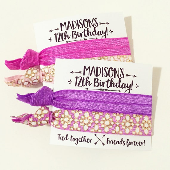 Bohemian Birthday Party Hair Tie Favors   Custom Birthday Hair Tie Favors, Pink + Purple Personalized Party Favors, Friends Forever, Arrows