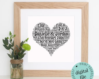 Personalised 1st ANNIVERSARY GIFT - Paper Anniversary - 1st Wedding Anniversary Gift - Printable Gift - 1 Year Anniversary - Word Art